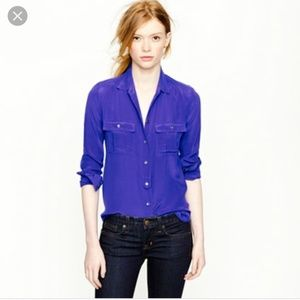 J.Crew 100% silk Blythe blouse in royal blue